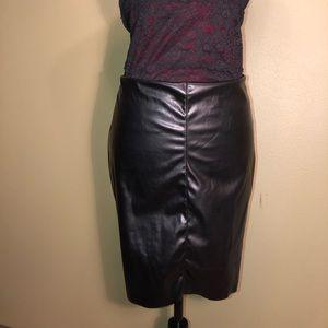 BooHoo Black Wet Look Skirt